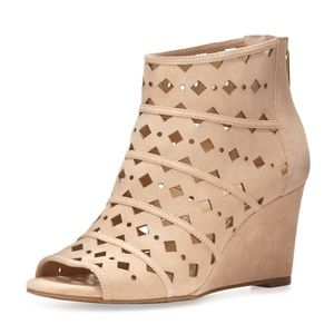 New Michael Kors Uma Laser Cut Suede Wedge Bootie